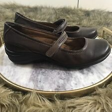 Hush Puppies Sz 8.5 R Brown Leather Mary Jane Loafer Career Comfort Shoes