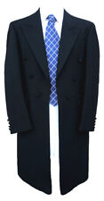 Ex-Hire 100% Herringbone Wool Black Frock Coat - Weddings Funerals Steam Punk
