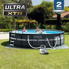 New listing Intex 18Ft x 52In Ultra Xtr Frame Round Swimming Pool Set with Pump And More