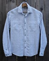 Carbon 2 Cobalt Convergence Shirt Blue White Check Plaid Cotton mens size small