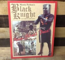 MONTY PYTHON Black Knight Security Sign Tin Vintage Garage Bar Decor Old Rustic