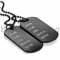 FREE ENGRAVING Army Style 2 Dog Tags Ball Chain Cool Men's Pendant Necklace