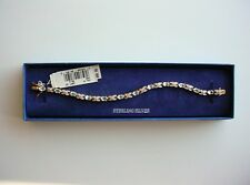 "Genuine Blue Topaz Bracelet Gold over Sterling Silver 7"" NEW w/Tags and BOX"