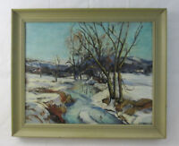 Vintage Signed Oil Painting Impressionistic Winter Landscape Baum Style 60's!