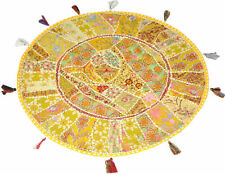 """32"""" Inch Yellow Handmade Round Patchwork Home Decorative Floor Cushion Cover"""