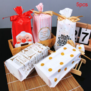 5pcs Christmas Candy Gift Bag Snowflake/Santa Claus/Elk Crisp Drawstring Bags AU