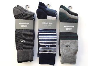 MICHAEL KORS Mens 3 PAIR Dress Socks Assorted Striped Gray  Mens Shoe 7-12