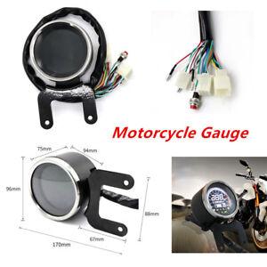 Motorcycle Scooter LCD Digital Odometer Speedometer Tachometer Gauge Universal