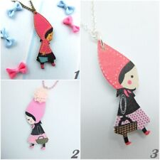 Sweet Red Riding Hood Necklace IN Pink From Wood Märchen- Children Jewellery
