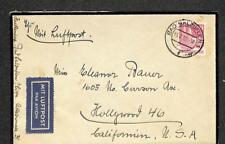 GERMANY TO HOLLYWOOD CALIFORNIA USA SCOTT #657 STAMP MOURNING AIRMAIL COVER 1952
