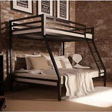 Metal Bunk Beds Frame Twin Over Full Black Ladder Kids Bedroom Furniture Bed New