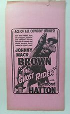 movie broadside 1943 JOHNNY MACK BROWN in THE GHOST RIDER