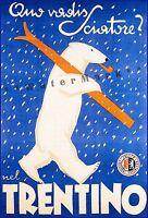 Trentino Italy 1947 South Tyrol Skiing Bear Vintage Poster Print Travel Art
