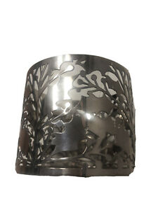 Bath & Body Works Gold Vines Leaves 3 Wick Candle Sleeve Holder Wood Pedestal