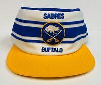 Ultra Rare Vintage Buffalo Sabres Striped NHL Snapback Hat, Blue White AJD Cap