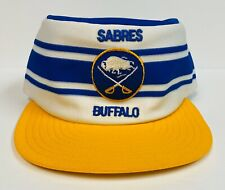 Ultra Rare Vintage Buffalo Sabres Striped NHL Snapback Hat, Blue White AJD Cap