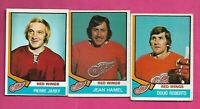 1974-75 OPC WINGS HAMEL RC + JARRY + ROBERTS  CARD  (INV# C7683)