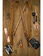 Handmade In UK - Leather Double Camera Harness Multi-Camera Strap Antique Brown