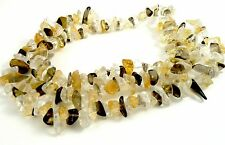 Smokey Quartz, Crystal Quartz and Citrine, 15 inch strand