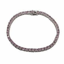 Pink CZ Sterling Silver One Row Tennis Bracelet 3mm