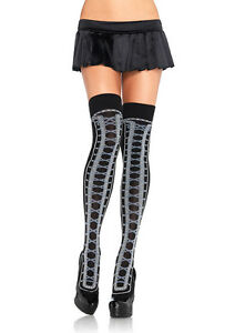 Leg Avenue Sexy Acrylic Faux Lace Up Thigh Highs