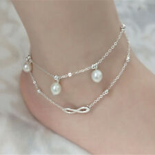 Shiny Jewelry Accessory 4 Layers Silver Color Rhinestone Alloy Beads Ankle Chain