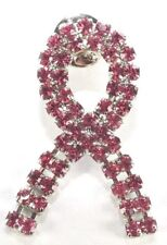 Brooch Lapel Pin - Breast Cancer Ribbon - Dangle - Pink Rhinestones  Silver Tone