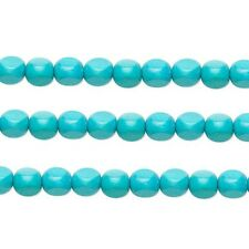 Wood Rounded Triangle Beads Aqua 10x10x10mm 16 Inch Strand