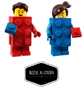Lego Minifigures Series 18 Lot of 2 - Red Brick Guy - Blue Brick Girl [71021]