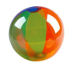"1  RAINBOW TRANSPARENT 16"" BEACH BALL BEACHBALL BALLS POOL PARTY FREE SHIPPING!"