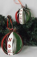 Christmas Tree Decorations Set 2 Large Red & Green Hand Made Open Noel Baubles