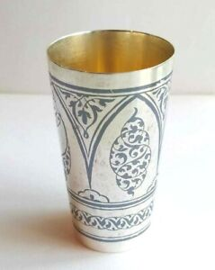 Niello gilded sterling silver julep cup from Soviet Union