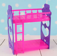 Mini Dollhouse Furniture Doll's Plastic Bunk Bed For Barbie House Toys