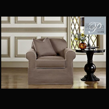 Sure fit Bahama Gray premiere 2 piece chair slip cover slipcover