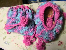 DOLL CRADLE PURSE with removable BROWN BABY doll & clothes-PURPLE~PINK crochet