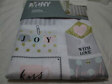 New VCNY Home BONJOUR Shower Curtain ~ Pink, Gold, Black ~ Eiffel Towel, Heart