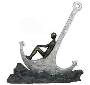 Casablanca Skulptur Figur sitzend auf Anker Poly Dekoration