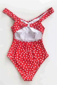 CUPSHE Women's Red Polka Dot Belted One Piece Swimsuit, Red, Size Medium 6dI8