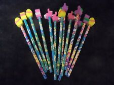 Lot of 13 Pencils With Small Animal  Earasers Assorted colors