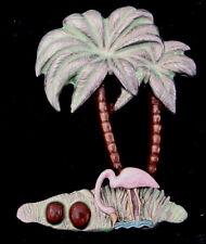 PINK FLAMINGO PIN JEWELRY Island Bird Palm Tree Coconuts Vintage Metal Charm NOS