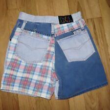 New listing Vintage 90s Y2K Steel Jeans Usa High Waist Color Block Plaid Denim Shorts, 26�W
