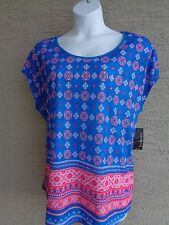 Kim Rogers Slub Fabric Raglan S/S Bead Embellished Top 1X  Blue Mult Msrp. $32.