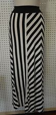 NEW Black WHITE Striped WOMEN Long MAXI SKIRT SZ Medium ARDEN B