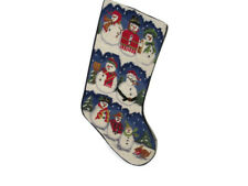 Needlepoint Christmas Stocking Snow People Blue Velvet  Finished Linen Lined