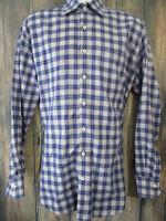 Peter Millar Mens size L Blue Plaid Long Sleeve Button Front  Cotton Shirt
