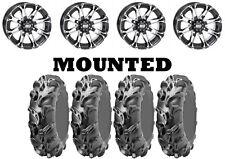 Kit 4 ITP Monster Mayhem Tires 30x10-14 on STI HD3 Machined Wheels IRS