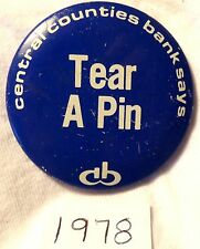 """Penn State - Central Bank Football Button - 1978 """"Tear A Pin"""" (Maryland)"""