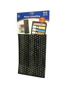 Carson-Dellosa Deluxe Scheduling Pocket Chart, Black with Gold Polka Dots