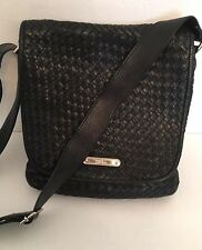 Cole Haan Woven Leather Messenger Bag Crossbody in Black Lining Needs Repair