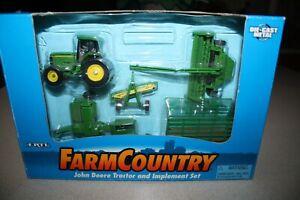 1996 ERTL FARM COUNTRY JOHN DEERE 5 PCS. HAY MAKING DIECAST SET-1/64-NICE-BOXED